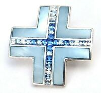 Sterling Silver Pendant Handmade Designer Mother of Pearl Crystal