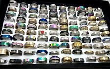 100pcs Top Mix lot Wholesale Stainless Steel Rings Men Women Fashion Jewelry