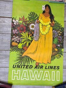 "Vintage Original United Air Lines Hawaii Stan Galli Travel Poster 40x25 40"" x 25"