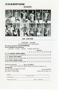 Vintage 5x7 CHAMPION 1960s Rare JIM STRYKER Iconic Male Model CATALOG SHEET