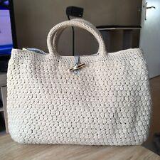 Grand Sac Cabas LONGCHAMP Roseau Beige Laine 38x29cm Made France Wool Limited !!