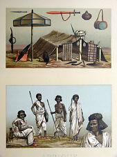 Nubiens Armes Campement CHROMOLITHOGRAPHIE ORIGINALE 19e s Racinet NUBIE Afrique