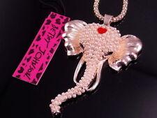 Betsey Johnson lovely pearl elephant pendant necklace # F289K