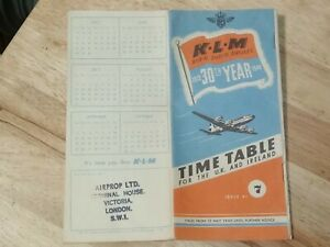 RARE 1949 KLM ROYAL DUTCH AIRLINES 1919-1949 30th YEAR U.K./IRELAND TIME TABLE