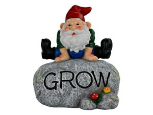 "20cm Gnome on Rock Cute Garden Display ""Grow"" Wording"