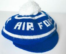 AIR FORCE Blue and White Knitted Wool Golf Tam Cap One Size