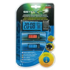Termometro indicatore temperatura interna/esterna + orologio digitale 12/24 Volt