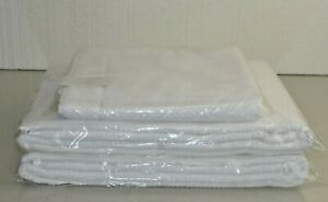 NEW Frette 3 PC TOWEL SET Diamond Jacquard 2 Bath Sheet + 1 Mat WHITE