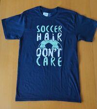 SOCCER HAIR DON'T CARE NAVY BLUE CUSTOM TSHIRT SMALL GIRLS 14 16 LADIES 6 8