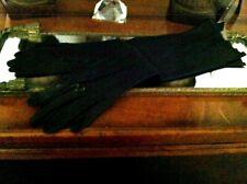 """Vtg Soft Black 15"""" Kid Gloves 7 1/2"""