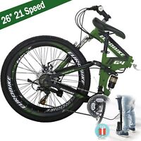 "🚵 26"" Folding Mountain Bike Shimano 21 Speed Bicycle Full suspension MTB School"