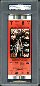 Drew Brees Autographed Super Bowl XLIV Ticket Card Saints PSA/DNA 83971802