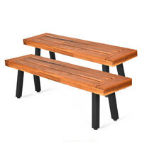 Set of 2 Acacia Wood Dining Bench Rustic Wood for Outdoor Patio Dining Room