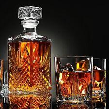 Elegante Decantador Italiano De Whisky Con Juego De 6 Vasos De Cristal
