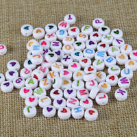 200PC Acrylic Round Heart Alphabet Letter Loose Beads Multicolor/White Wholesale