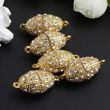 5Pcs/Set 29x14mm Magnetic Clasps With Rhinestone Rugby Gold Plated Jewelry