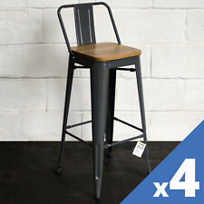 Sets of 4 Tolix Style Rustic Vintage Metal Stools Design Kitchen Dining Seating Graphite With Light Wood Seat