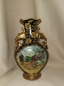 "Vtg/antique htf Satsuma Hand Painted Guilded Gold Wave Rim 10"" Vase rare"