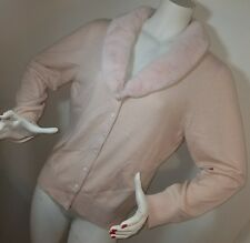 Vintage Silk & Cashmere Cardigan Sweater Otter Fur Collar REAL CLOTHES Size XL
