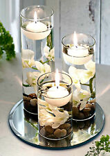 Set 3 Floating Candles White Flowers Tealight Holder Mirrored Base Home Decor