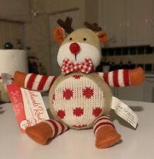 Rare * Grasslands Road * Knit Toy Reindeer Little Christmas - Noel Peu Nwt L@K