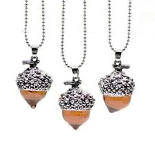 """Glass Acorn Necklace Pendant Antique Silver with 32"""" Long Chain  Ships Fast"""