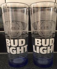 2 X BUDWEISER BUD LIGHT PINT GLASSES NEW 2017 / CE STAMPED / NUCLEATED
