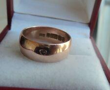 Vintage 9ct Rose Gold Wedding Band Ring h/m 1914 Birmingham  -  size L / M