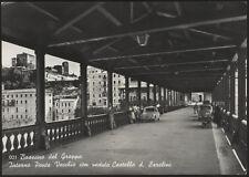 cartolina BASSANO DEL GRAPPA int. ponte vecchio con veduta castello ezzelini