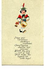 Little Boy w/ Marching Drum Instrument-Horn-Christmas Holiday Greeting Postcard