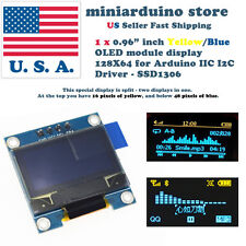 "0.96"" I2C IIC 128X64 LED OLED LCD  Display Arduino Yellow Blue Color SSD1306 US"