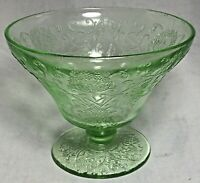 Vintage Florentine No 2 Poppy Hazel Atlas Green Sherbet Bowl Depression Glass