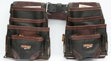 2 10 pkt Carpenter Electrician Tool Pouch Waist Bag with Belt - OIL TAN Leather