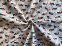 """1 yd Patriotic USA Print 53"""" Height Fabric  Cotton Twill Country Shape"""