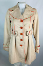 Kensie Small Women's Trench Coat Pea Coat Khaki Pink How Detail Button Down Tain