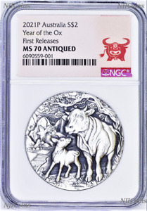2021 Australia Antiqued LUNAR Year of the OX 2oz $2 Silver Coin NGC MS70 FR