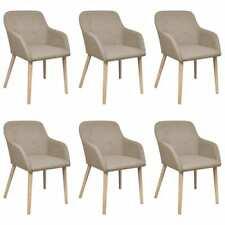 vidaXL 6x Eiche Massiv Esszimmerstuhl Beige Küchenstuhl Armlehne Stuhl Stühle