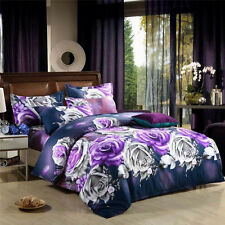 Mingjie Purple Red Flowers 3D Bedding Sets 4PCS Queen Size Bed Linen China