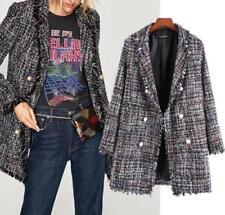 women Tweed Leisure Pearl button decoration Ribbon Weave jacket coat parka