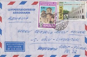 XX772 Caracas  March 1968 cds German aerogramme used to Germany ; 2 stamps