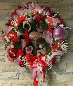 Türkranz Weihnachtskranz  *Flamingo und Lichterkette* Amerikanischer Stil