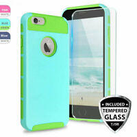 For Apple iPhone 6 / 6S Shockproof Armor Rubber Phone Hard Case+Tempered Glass