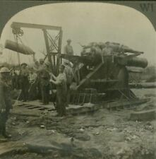 "Feeding ""Grannie"" - Shell Hoisted into Position - WW1 Stereoview"