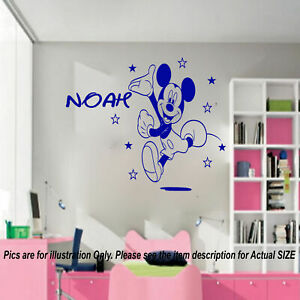 Disney Mickey Mouse Personalised name sticker, Kids bedroom wall. Nursery decor