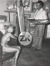 CHARLES KIFFER Peintre NU modèle MAGDA Pin-up Atelier QUINIO Photo 1950s