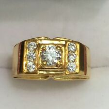 18k Solid Yellow Gold Men Ring With Cubic Zirconia, Sz 9.25. 8.51 Grams