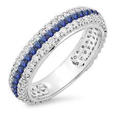 14K White Gold Diamond & Sapphire Ladies Wedding Eternity Ring Band Size 9