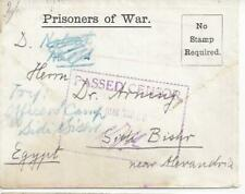 1918 German East Africa India WWI Prisoner of War POW Censored Cover to Egypt