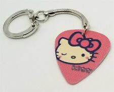 Hello Kitty with Pink Bow and Winking Guitar Pick Key Chain