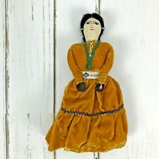 Vintage Navajo 9 Inch Native American Indian Doll Velvet Dress EUC